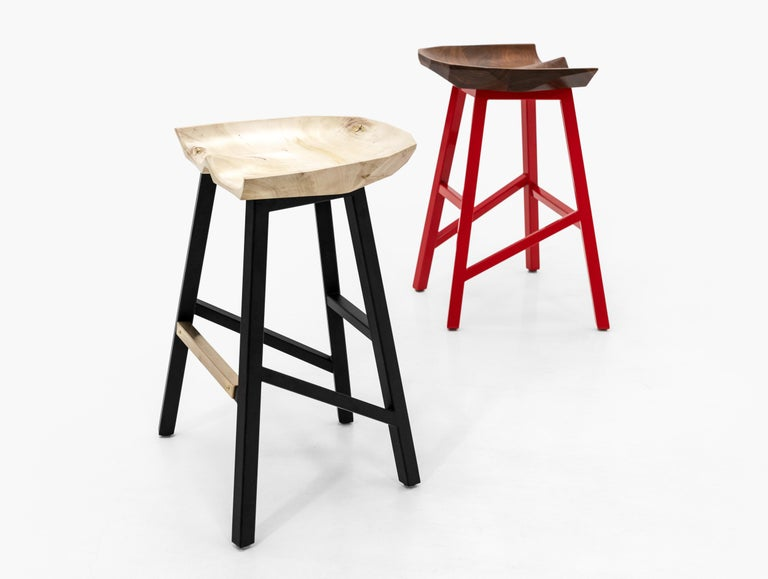 Contemporary Modern Bar Counter Stool in Wood with Brass by Goebel For Sale