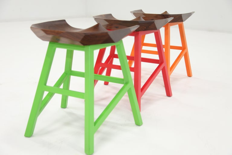 Modern Bar Counter Stool in Wood with Brass by Goebel For Sale 3