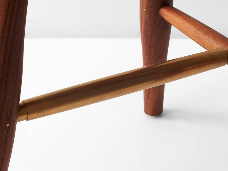 Swell Dining Stool Turned Leg And Brass Stool For Sale At