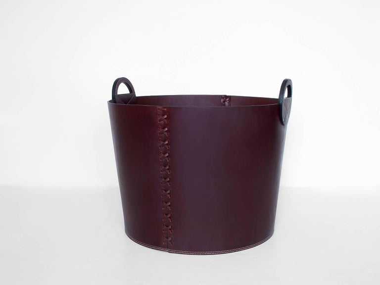 Leather Bushel Basket with White Oak or Aromatic Cedar Bottom 4