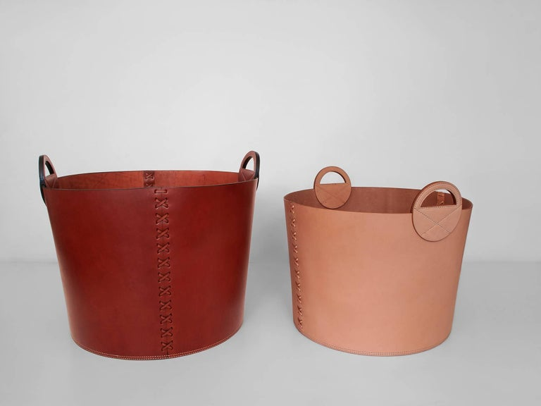 Leather Bushel Basket with White Oak or Aromatic Cedar Bottom 2