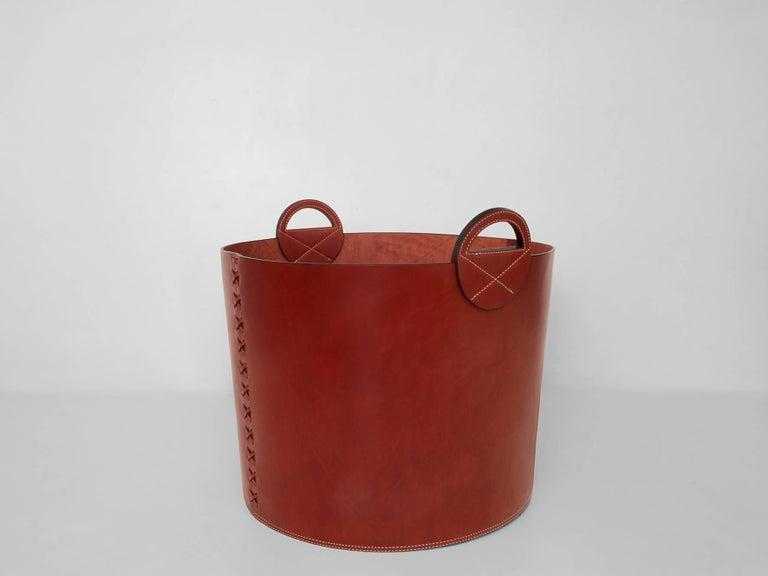Leather Bushel Basket with White Oak or Aromatic Cedar Bottom 5