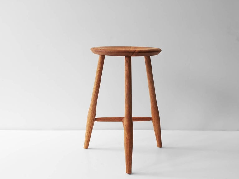Swell Counter Stool Turned Leg And Brass Stool For Sale