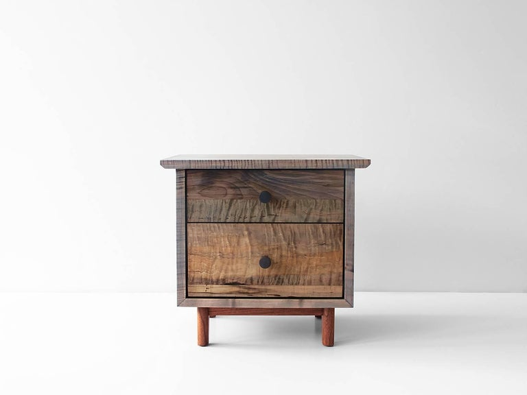 The spring side cabinet is a solid wood case piece that features leather, turned brass or turned hardwood pulls. Available in Claro walnut, black walnut (natural, oxidized or ebonized), maple (natural, bleached, or oxidized), cherry and white oak