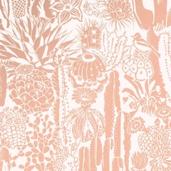 Cactus Spirit Screen Printed Wallpaper in Rose Gold 'Metallic Copper on Blush'