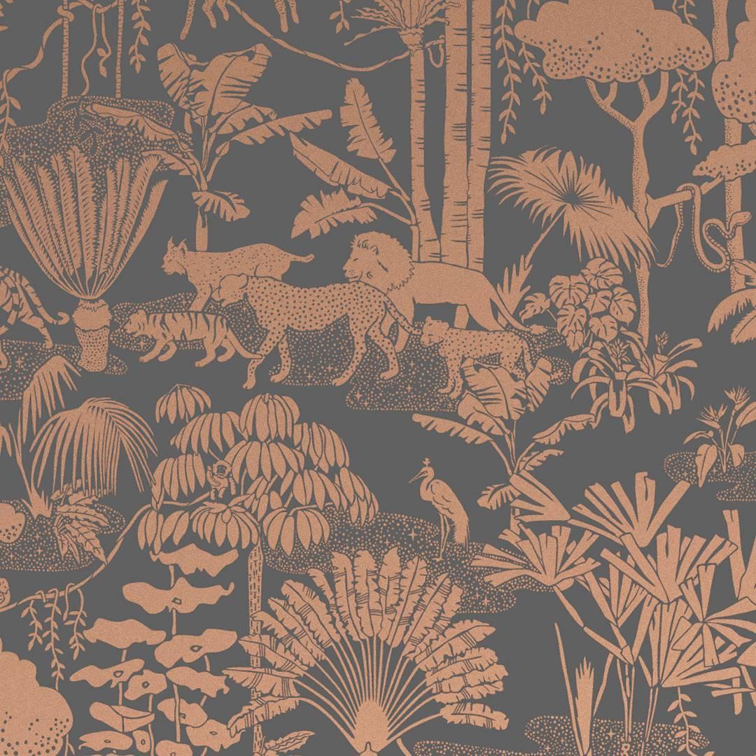 Jungle Dream Screen Printed Wallpaper in Glint 'Metallic Copper on Charcoal'