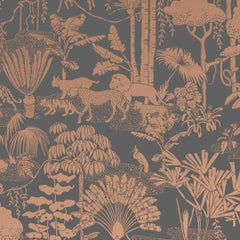 Jungle Dream Screen Printed Wallpaper in Glint 'Metallic Copper on Charcoal'