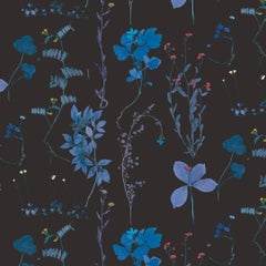 Herbario Designer Wallpaper in Color Tesla Blue 'Multicolor Blues on Black'