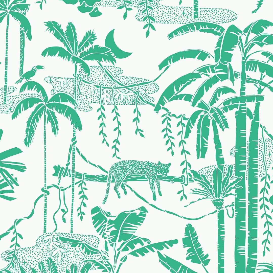 Jungle Dream Designer Wallpaper in Monteverde 'Green and White'