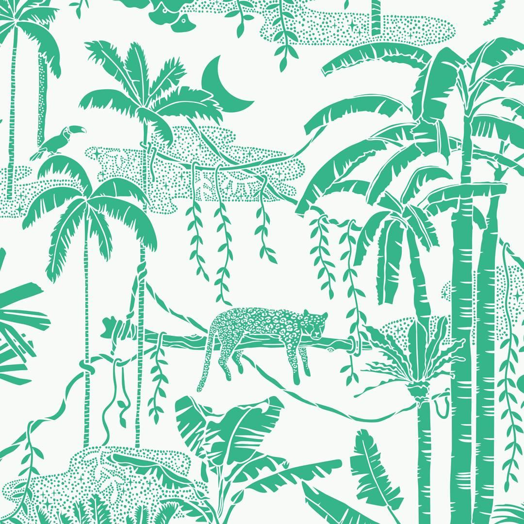 Schumacher Tropical Isle Floral Hand Printed Green on White ...
