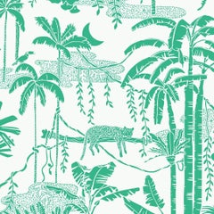 Jungle Dream Designer Screen Printed Wallpaper in Monteverde 'Green on White'
