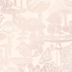 Mushroom City Designer Wallpaper in Color Cava 'Pearlescent on Blush'
