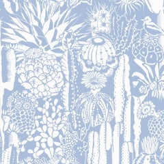 Cactus Spirit Screen Printed Wallpaper in Color Peri 'Soft White on Periwinkle'
