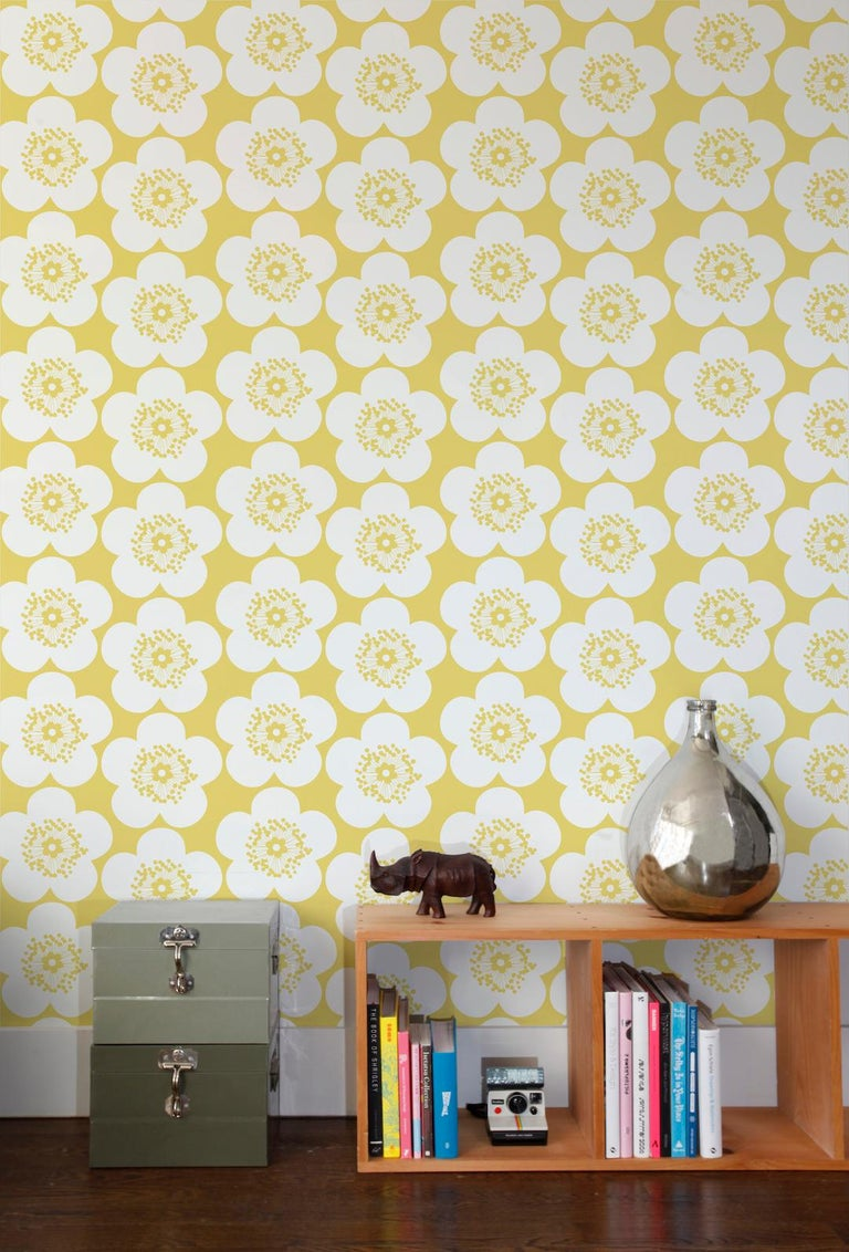 Pop Floral Designer Wallpaper in Color Lemon \'Yellow on Soft White ...