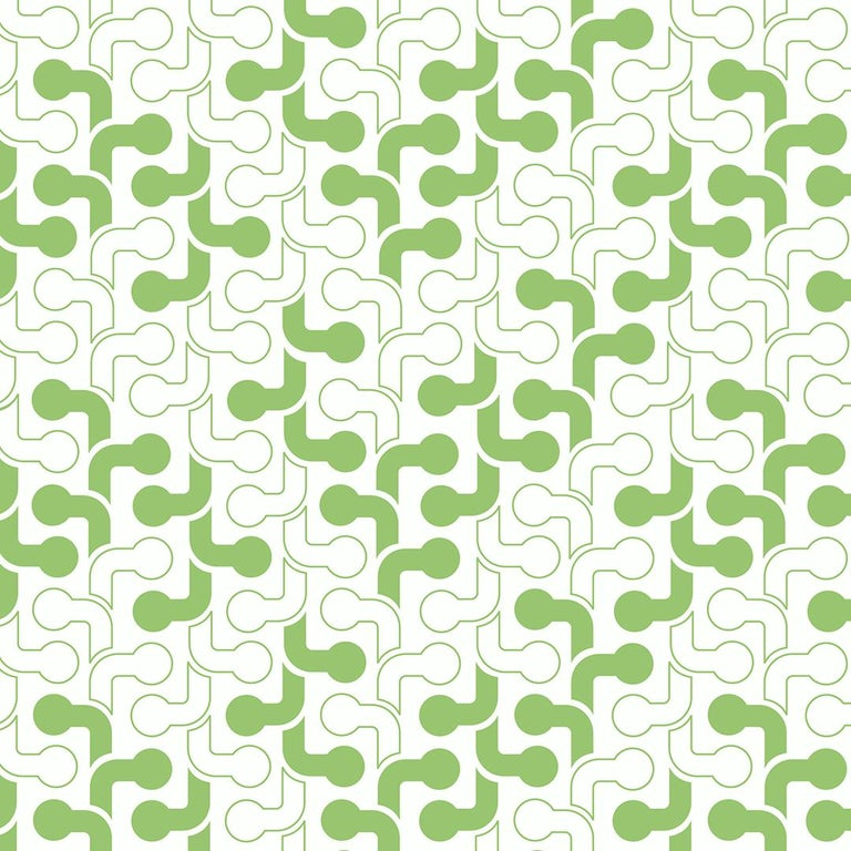 Pipes Designer Wallpaper In Color Lime Green On White