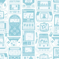Gameland Screen Printed Wallpaper in Color Aquatic 'Aqua Blue on Soft White'
