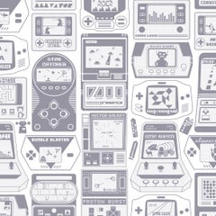 Gameland Screen Printed Wallpaper in Color Slate 'Purpleish-Grey on Soft White