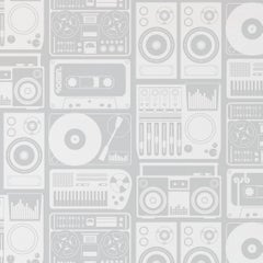 Analog Nights Screen Printed Wallpaper in Color Heather 'White on Mid Grey'