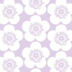 Pop Floral Designer Wallpaper in Color Violet 'Lavender Purple on Soft White'