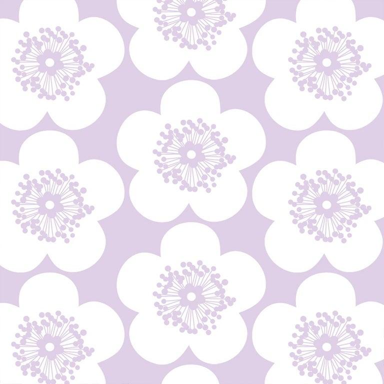 Pop Floral Designer Wallpaper In Color Violet Lavender Purple On Soft White