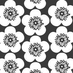 Pop Floral Designer Wallpaper in Color Charcoal 'Black on Soft White'