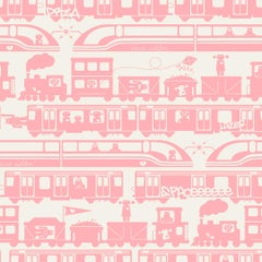 Roborail Designer Wallpaper in Color Peony 'Rosey Pink on Soft White'