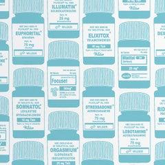 Brain Candy Screen Printed Wallpaper in Aqua 'Aqua Blue on Soft White'