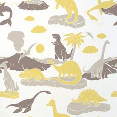 Pangea Designer Wallpaper in Sunflower 'Yellow and Warm Greys on Soft White'