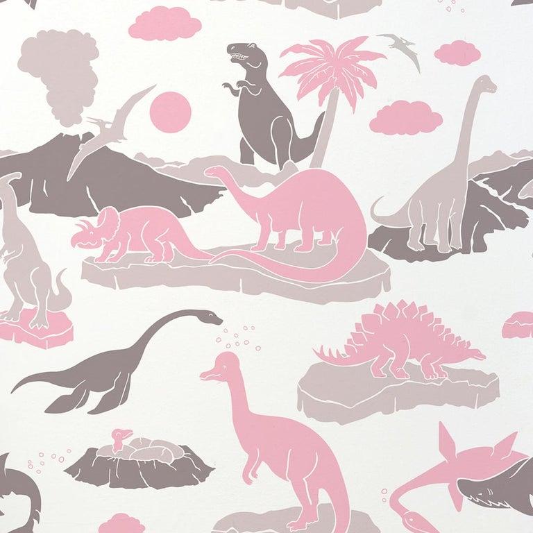 Pangea Designer Wallpaper In Blush Pink Warm Grey And Brown On Soft White