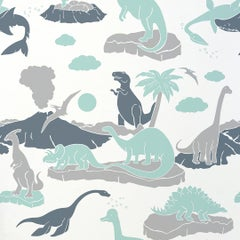 Pangea Designer Wallpaper in Mineral 'Mint, Grey and Steel Blue on Pale Grey'
