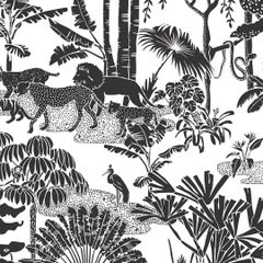 "Jungle Dream Designer Screen Printed Wallpaper in Charcoal ""Soft Black on White"""