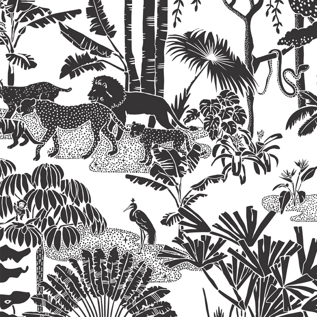 Jungle Dream Designer Wallpaper in Charcoal 'Black and White'