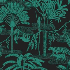 Jungle Dream Designer Wallpaper in Color Emerald 'Green and Black'
