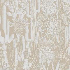 Cactus Spirit Screen Printed Wallpaper in Color Desert 'Soft White on Oatmeal'