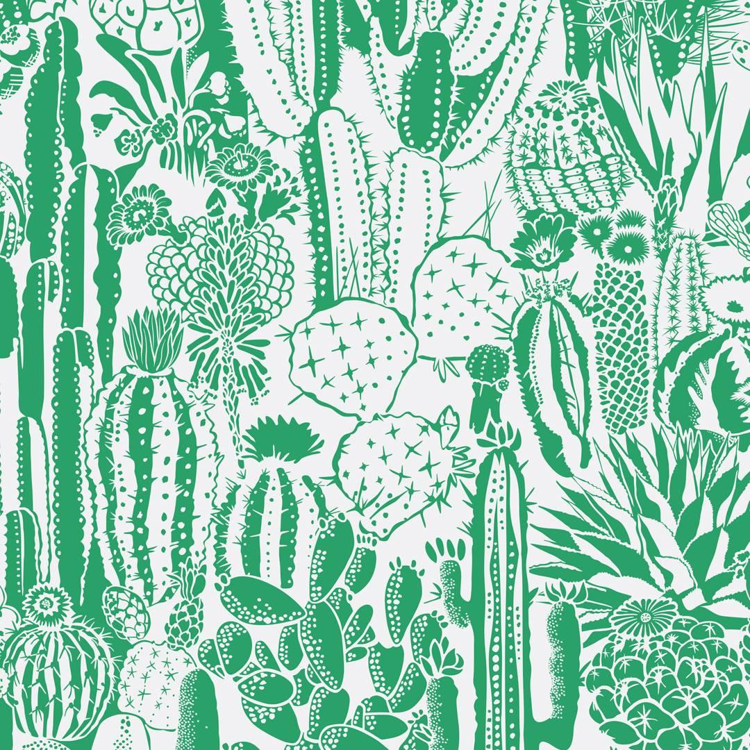 Cactus Spirit Designer Wallpaper in Kelly 'Green and Pale Grey'