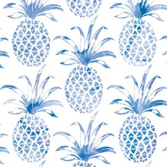 Piña Pintada Designer Wallpaper in Macaw 'Cobalt Blue and White'