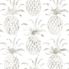 Piña Pintada Designer Wallpaper in Shell 'Warm Grey and White'