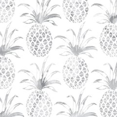Piña Pintada Pigment Printed Wallpaper in Color Gull 'Grey on White'
