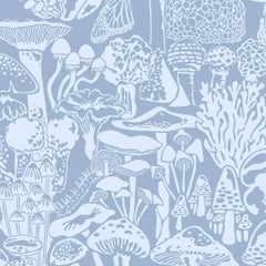 Mushroom City Designer Wallpaper in Color Glacial 'Powder Blue on Periwinkle'