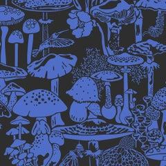 Mushroom City Designer Wallpaper in Color Asteroid 'Cobalt on Black'