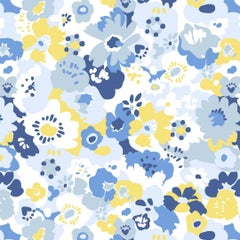 Wildflower Designer Wallpaper in Color Spring 'Blues and Yellow and on White'