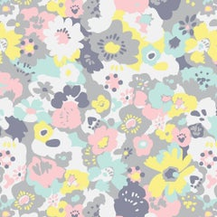 Wildflower Designer Wallpaper in Neapolitan 'Pink, Yellow, Mint and Grey'