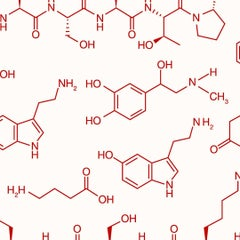 Love Molecules Designer Wallpaper in Color Charm 'Red on Soft White'