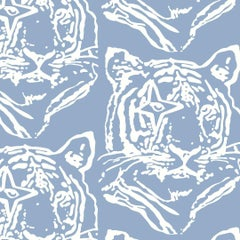 Star Tiger Designer Wallpaper in Color Peri 'Soft White on Periwinkle'