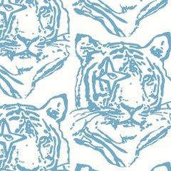 Star Tiger Designer Wallpaper in Denim 'Dusty Blue and White'