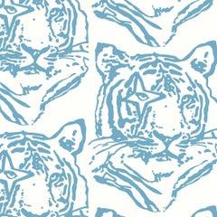 Star Tiger Designer Wallpaper in Color Denim 'Dusty Blue on Soft White'