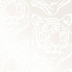 Star Tiger Designer Wallpaper in Color Oyster 'White on Pearlescent Metallic'