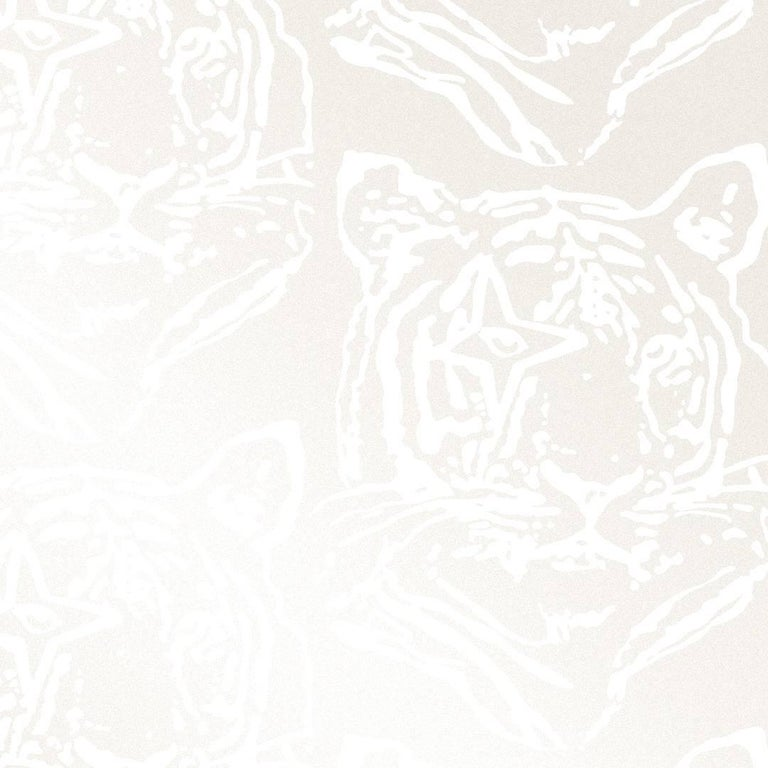 Star Tiger Designer Wallpaper In Color Oyster White On Pearlescent Metallic