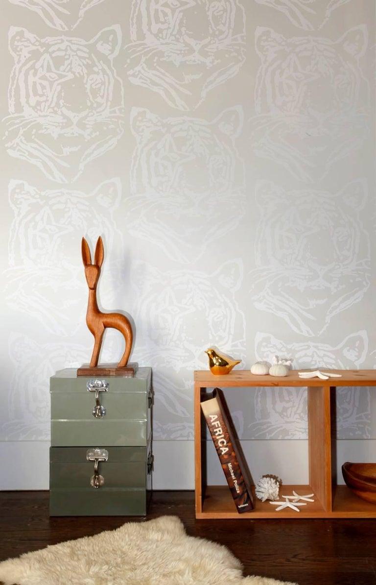 Star Tiger Designer Wallpaper in Color Oyster \'White on Pearlescent ...