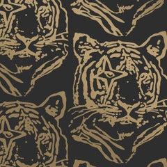 Star Tiger Designer Wallpaper in Color Eclipse 'Metallic Gold on Black'